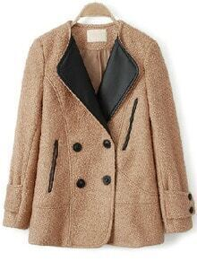 Camel Contrast Leather Lapel Pockets Loose Coat