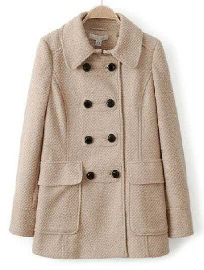 Apricot Lapel Long Sleeve Buttons Pockets Coat