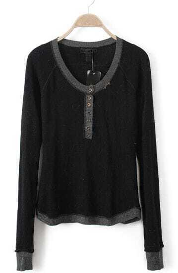 Black Long Sleeve Buttons Embellished Sweater