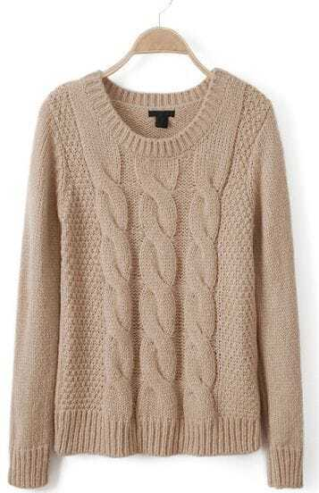 Apricot Long Sleeve Pullover Cable Knit Sweater