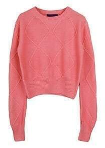 Pink Long Sleeve Diamond Patterned Crop Sweater
