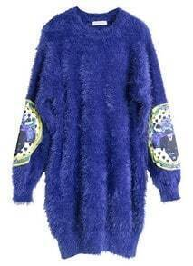 Blue Long Sleeve Elbow Patch Plush Sweater