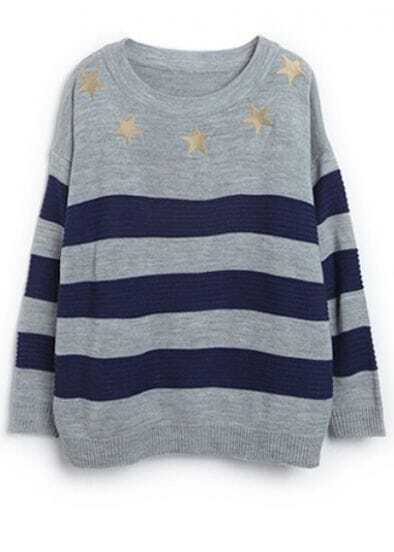 Grey Blue Long Sleeve Striped Stars Sweater
