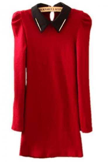 Wine Red Lapel Puff Long Sleeve Metal Embellished Dress