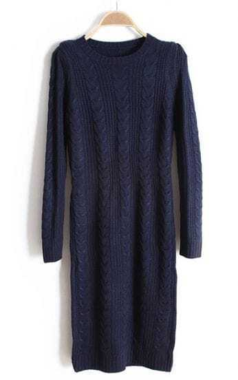 Navy Long Sleeve Cable Knit Sweater Dress