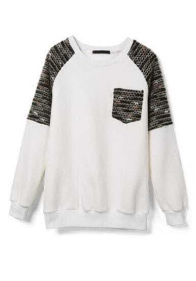 White Long Sleeve Contrast Shoulder Pocket Sweatshirt