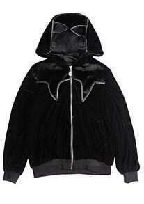 Black Hooded Long Sleeve Contrast Nap Jacket