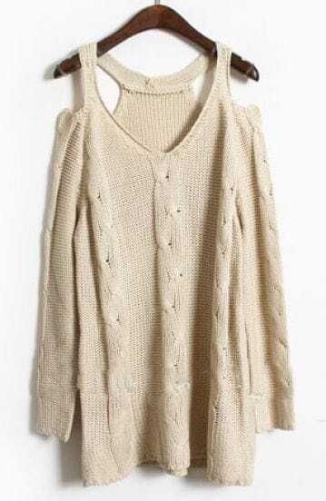 Apricot Cut Out Shoulder Loose Round Neck Cable Sweater