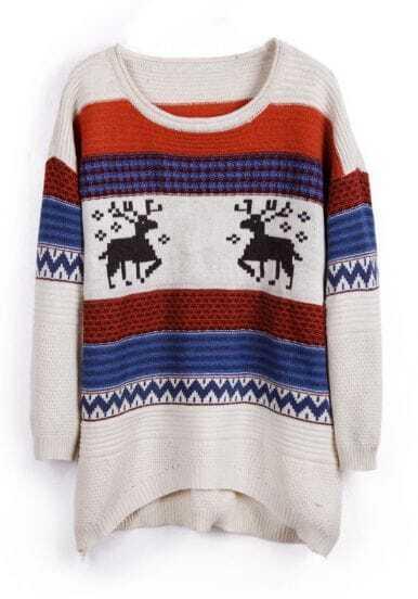 Beige Deer Striped Pattern High-Low Pullover Sweater