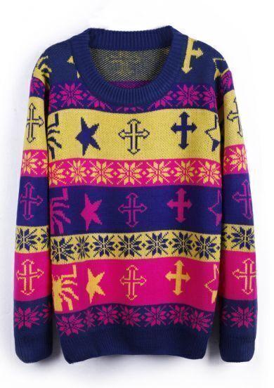 Royalblue Snowflake Cross Stars Pattern Pullover Sweater