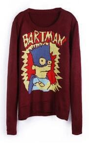 Oxblood BARTMAN Simpson Cartoon Pattern Sweater