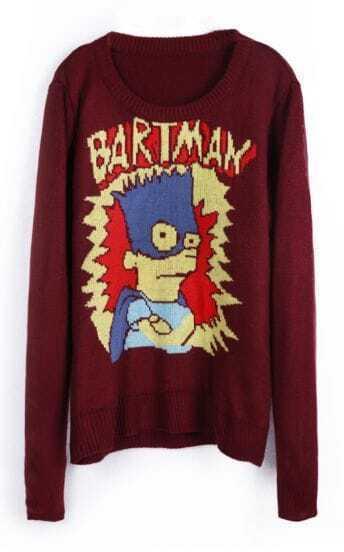 Oxblood BARTMAN Simpson Cartoon Pattern Sweater