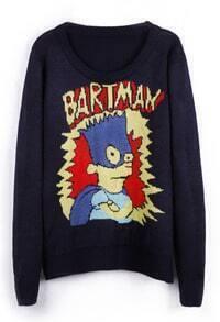 Navy BARTMAN Simpson Cartoon Pattern Sweater