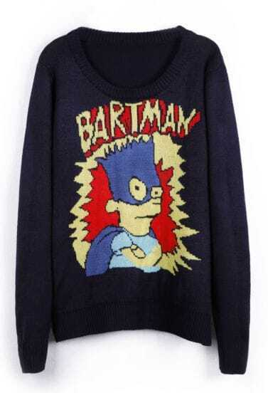 Navy BARTMAN Simpson Cartoon Pattern Sweater