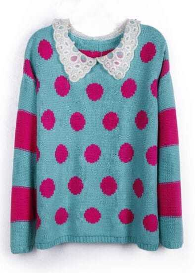 Navy Pink Contrast Pearls Crochet Collar Dot Buttons Back Sweater