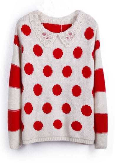 Red Green Contrast Pearls Crochet Collar Dot Buttons Back Sweater