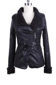 Black Fleece Lapel Oblique Zipper Self-Belt PU Leather Jacket
