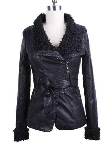Black Fleece Lapel Oblique Zipper Self-Belt PU Leather Jacket
