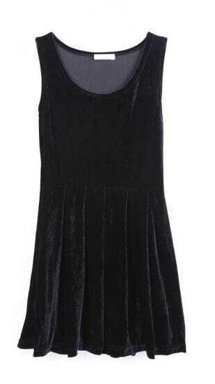 Black Sleeveless Pleated Corduroy Tank Dress