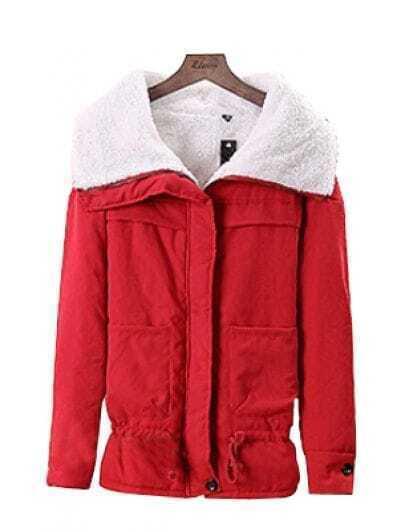 Red Big Lapel Long Sleeve Pockets Loose Coat