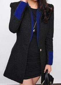 Black High Neck Contrast Trims Pockets Coat