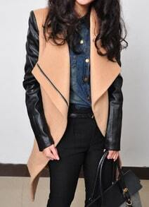 Camel Contrast Leather Long Sleeve Zipper Coat
