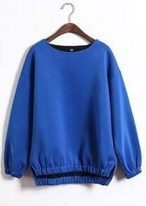 Blue Long Sleeve Elastic Split Sweatshirt