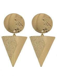 Gold Round Triangle Stud Earrings