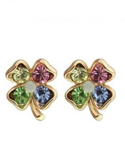 Multi Gemstone Gold Flower Stud Earrings