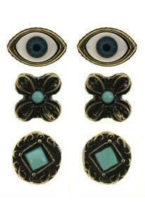 Blue Gemstone Gold Eyes Flowers Round Stud Earrings