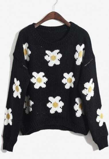 Black Long Sleeve Flowers Pattern Pullover Sweater