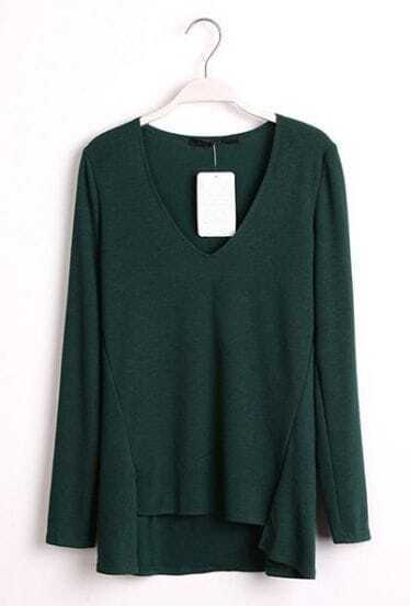 Green Long Sleeve High-Low Pullover Sweater