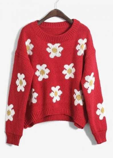 Red Long Sleeve Flowers Pattern Pullover Sweater