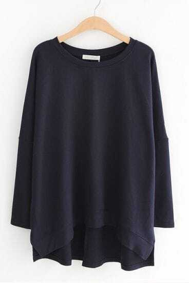 Navy Batwing Long Sleeve Loose Pullover Sweater