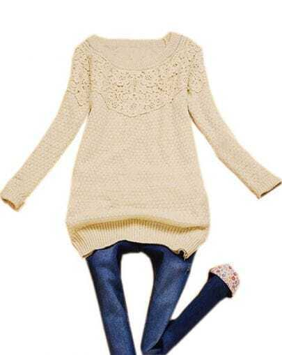 Beige Long Sleeve Hollow Embroidery Pullover Sweater
