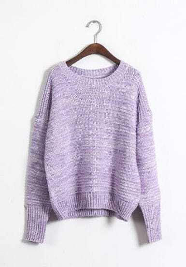Purple Long Sleeve Striped Pullover Sweater