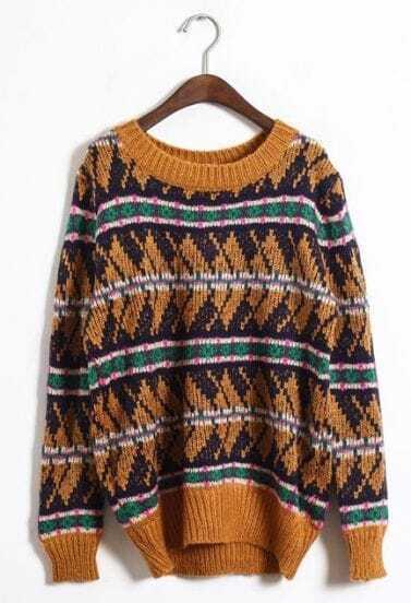 Khaki Long Sleeve Geo Pattern Pullover Sweater