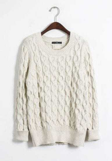 White Long Sleeve Cable Knit Pullover Sweater -SheIn(Sheinside)