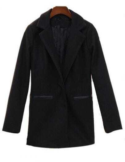 Black Notch Lapel Contrast Leather Pockets Suit