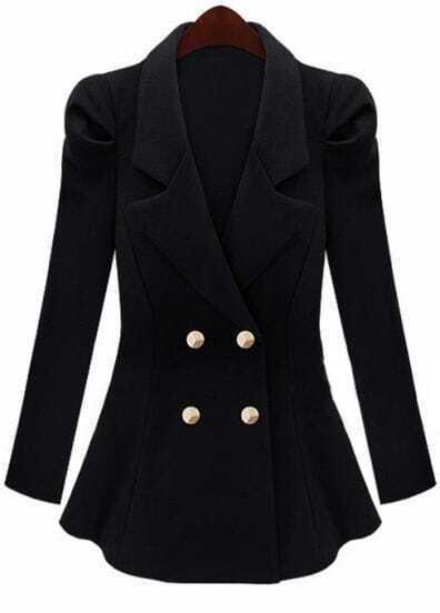 Black Notch Lapel Buttons Ruffles Suit