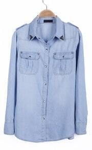 Light Blue Skull Metal Tip Collar Denim Blouse