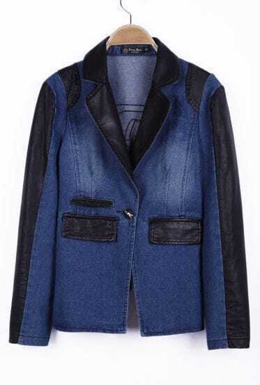 Blue Contrast PU Leather Pockets Denim Coat
