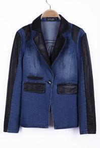 Blue Contrast PU Leather Pockets Denim Coat