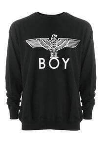 Black Long Sleeve Eagle BOY Print Sweatshirt