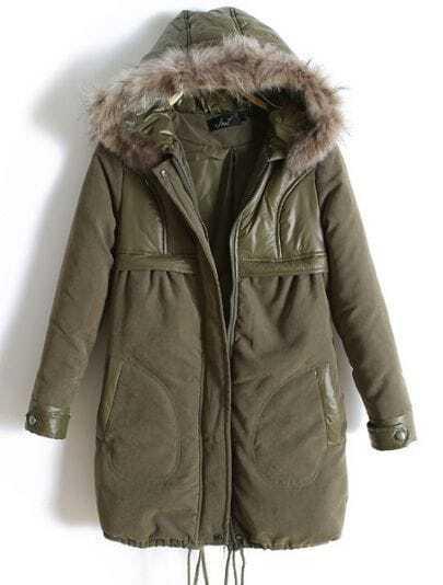 Green Fur Hooded Drawstring Zipper Coat
