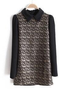 Black Long Sleeve Metallic Yoke Embroidery T-Shirt