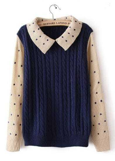 Blue Contrast Polka Dot Long Sleeve Sweater