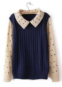 Blue Contrast Polka Dot Long Sleeve Sweater