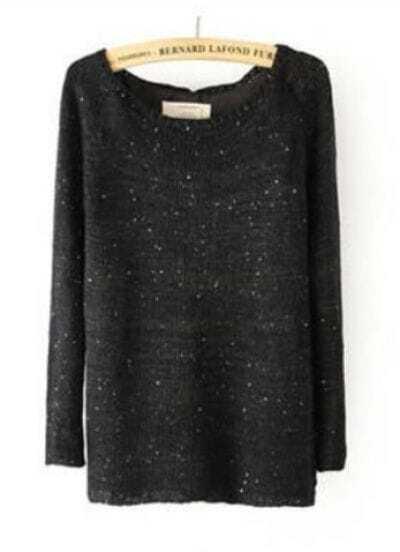 Black Long Sleeve Sequined Split Back Sweater