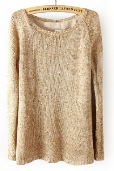 Light Khaki Long Sleeve Sequined Split Back Sweater